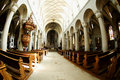 The nave of the cathedral pulpit with Royalty Free Stock Photos