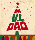 Navidad christmas spanish text tree shape vintage card Stock Photo