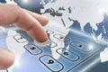 Navigating virtual telephone keypad Royalty Free Stock Photo