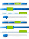 Navigation bars blue and green with rollover effect for website templates Royalty Free Stock Photo