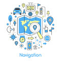 Navigation Cartography Thin Line Icons Set with Map and GPS