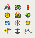 Navigation color web icons collection vector Royalty Free Stock Photography