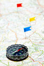 Navigation with compass Royalty Free Stock Photo