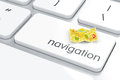 Navigation concept d render of map with pins icon on the keyboard Stock Photography