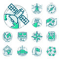Navigation direction maps sign traffic and more thin line icons set vector illustration