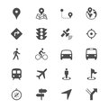 Navigation flat icons simple clear and sharp easy to resize Royalty Free Stock Images