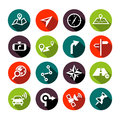 Navigation icons flat design collection of vector maps location gps in style Stock Image