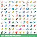 100 navigation icons set, isometric 3d style