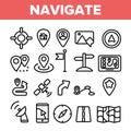 Navigation Linear Vector Thin Icons Set Symbol