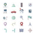 Navigation and location Icons Set Of Vector Illustration Style Colorful Flat