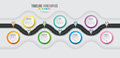 Navigation map infographic 7 steps timeline concept. Winding roa