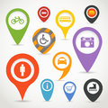 Navigation pins elements with transport icons Stock Image