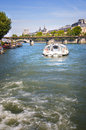 Navigation on seine river a boat for in paris city Stock Image
