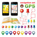 Navigation set with icons gps vector gradient eps Stock Image