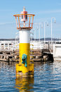 Navigational buoy navigation at the entrance to the harbor at the pier in sopot Royalty Free Stock Images