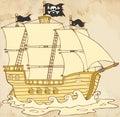 Navigazione della nave di pirata sotto jolly roger flag in old paper Fotografie Stock Libere da Diritti