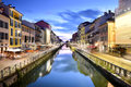Naviglio Grande Canal at the Blue Hour, Milan, Italy Royalty Free Stock Photo