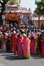Navratri Hindu festival. Colorfully dressed Indian women
