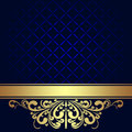 Navy blue Background with golden royal Border. Royalty Free Stock Photo