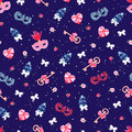 Navy blue eamless vector pattern with venetian masks, keys, bows, pink diamond hearts, flower