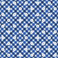 Navy Blue Gingham with Flowers Fabric Background Royalty Free Stock Photography