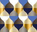 Navy blue and gold luxury geometry pattern. seamless pattern vec Royalty Free Stock Photo