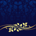 Navy blue ornamental background decorated a golden floral border Stock Photo