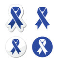 Navy blue ribbon - child abuse, drunk driving symbol Royalty Free Stock Photo