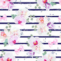 Navy blue striped seamless vector print in purple, pink and white tones with bows