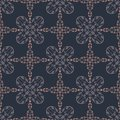 Navy Blue Tile Damask Seamless Vector Pattern, Hand Drawn Floral Ornament Illustration