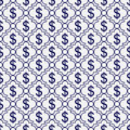 Navy Blue and White Dollar Sign Pattern Repeat Background Royalty Free Stock Photo