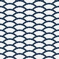 Navy blue and white geometric wave stone mosaic seamless pattern, vector background