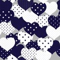 Navy blue and whiye romantic seamless pattern with polka-dot he