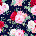 Navy floral seamless vector print with burgundy red and pink peony, alstroemeria lily, mint eucalyptus.