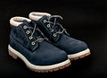 Navy lady s boots with shoelace and sole on black background pair of blue up Stock Images