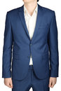 Navy mens casual suit isolated on white business ocean blue color Royalty Free Stock Images