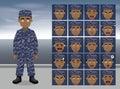 Navy Operation Cartoon Emotion faces Vector Illustration
