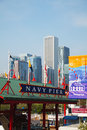 Navy pier in chicago in the morning may on may il it s is a foot m long on shoreline of lake michigan is Stock Photography