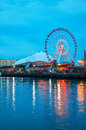 Navy pier in chicago at night time may on may il it s is a foot m long on the shoreline of lake michigan is Royalty Free Stock Photos