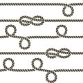 Rope knots collection. Overhand, Figure of eight and square knot. Seamless decorative elements.