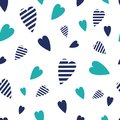Navy  seamless patterns wave heart. Cute nautical backgrounds.