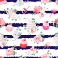 Navy striped seamless vector pattern with fresh pastries, bouquets of flowers and keys with red bows. Royalty Free Stock Photo