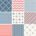 Navy vector seamless patterns collection set waves anchors chains and strips Royalty Free Stock Images