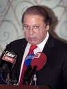 Nawaz sharif the current prime minister of pakistan dubai uae june during press conference in atlantis hotel on june dubai Royalty Free Stock Photo