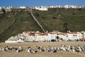 Nazare portugal tourist destination on the atlantic coast of Stock Photos