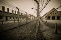 Nazi concentration camp auschwitz i poland electric fence in former Stock Image