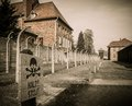 Nazi concentration camp auschwitz i poland electric fence in former Royalty Free Stock Photography