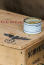 Nazi provisions a crate of field rations tins of ham Royalty Free Stock Images