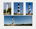 Nc lighthouse collage north carolina lighthouses of ocracoke bodie island and cape hatteras Royalty Free Stock Photo