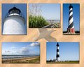 Nc outer banks collage north carolina lighthouses of ocracoke bodie island and cape hatteras in the Stock Images